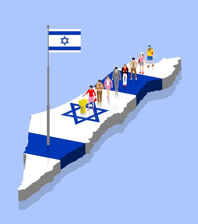 Izraeliccy mieszkanowie głosują w tajnego głosowania pudełku nad Izrael mapą ilustracja wektor
