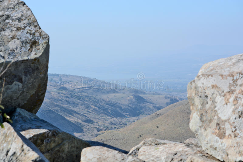 Izraelicki parka narodowego Gamla forteca przy Golan Hights fotografia stock