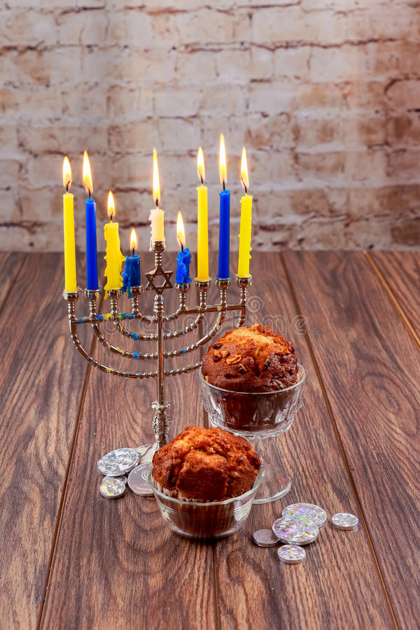 Jánuca, el festival judío del día de fiesta de las luces fotografía de archivo libre de regalías