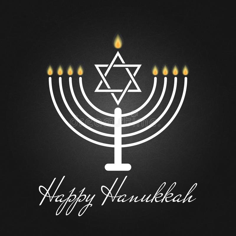 Jánuca feliz es una tarjeta tradicional del cartel o de felicitación del día de fiesta judío el rededication del templo santo en  stock de ilustración