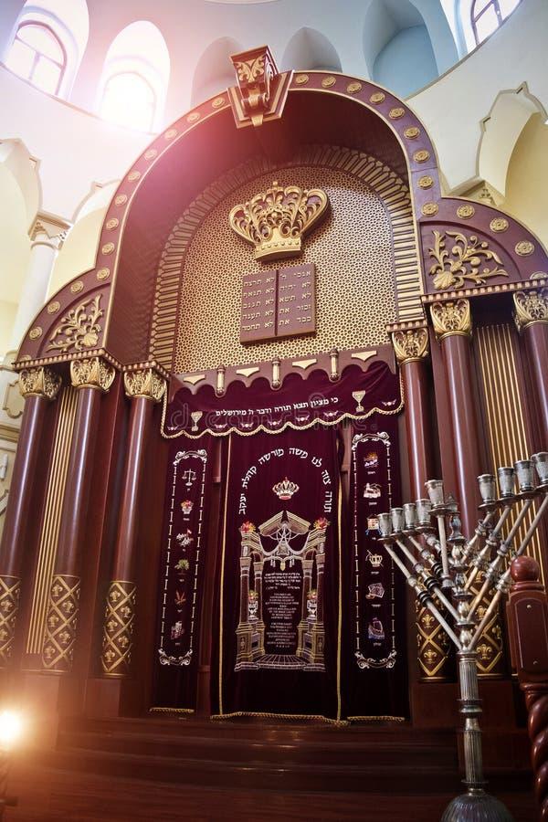 Járkov, Ucrania - 17 de diciembre de 2014: Interior coral de la sinagoga de Járkov fotos de archivo libres de regalías