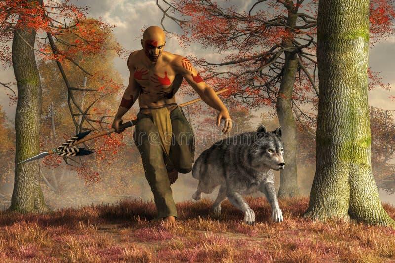 Jäger und Wolf des amerikanischen Ureinwohners lizenzfreie abbildung