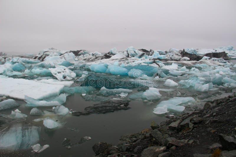 Jökulsà ¡ rlà ³ n,冰山的冰河湖 库存图片