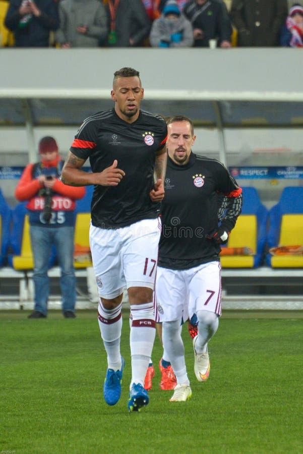 JérÃ'me Boateng e Franck Ribéry I giocatori del ¼ di FC Baviera Mà nchen fotografie stock libere da diritti