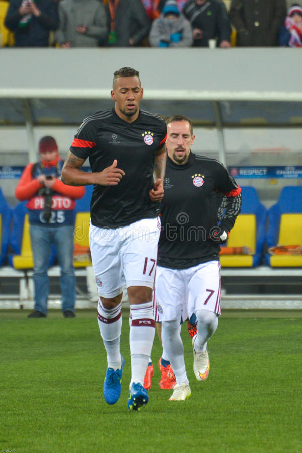 JérÃ'me Boateng en Franck Ribéry De spelers van FC Beieren Mà ¼ nchen royalty-vrije stock foto's