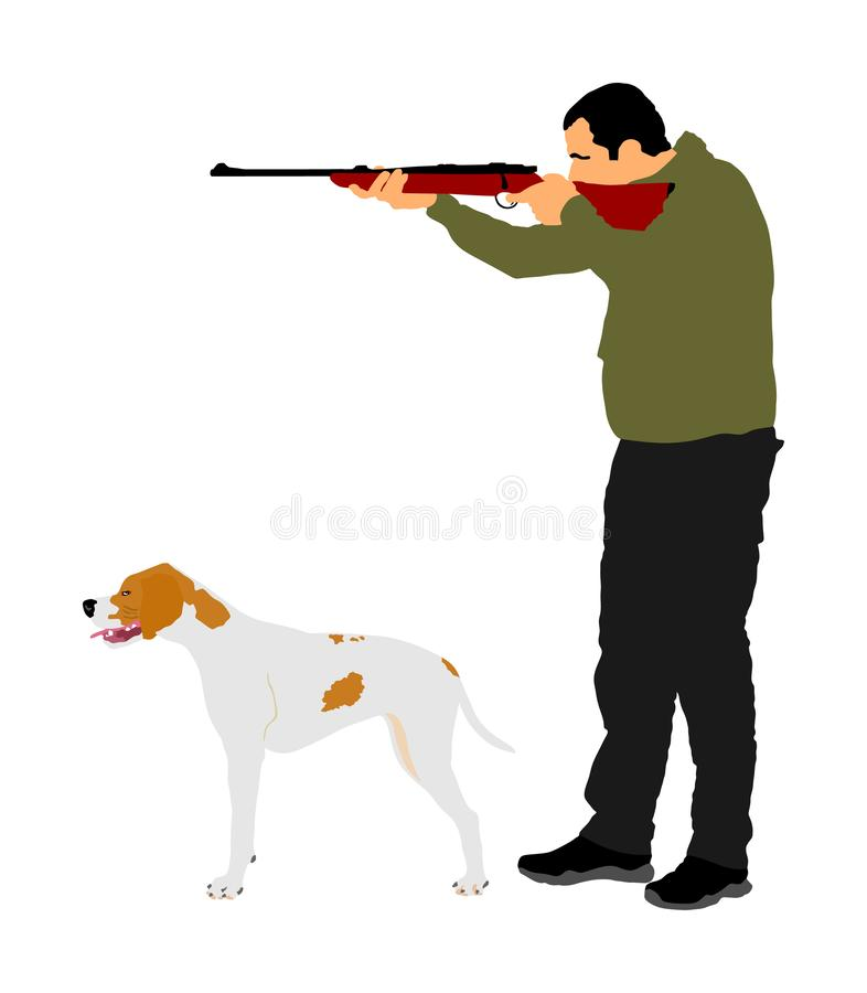 Jägare med hunden som siktar med hans gevärvektorillustration Utomhus- jaga plats Pekare som ser p? rov Isolerad manjakt royaltyfri illustrationer
