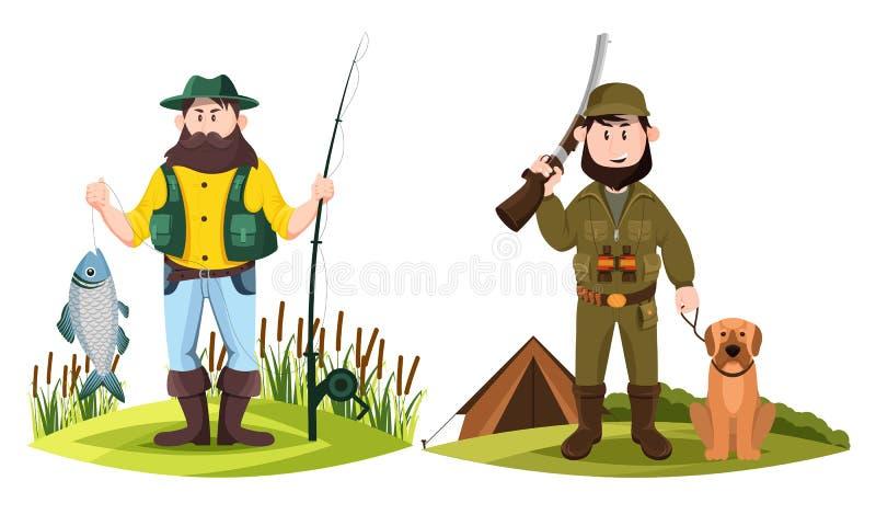 Jägare och fiskare Jaktman och fisher med stången vektor illustrationer