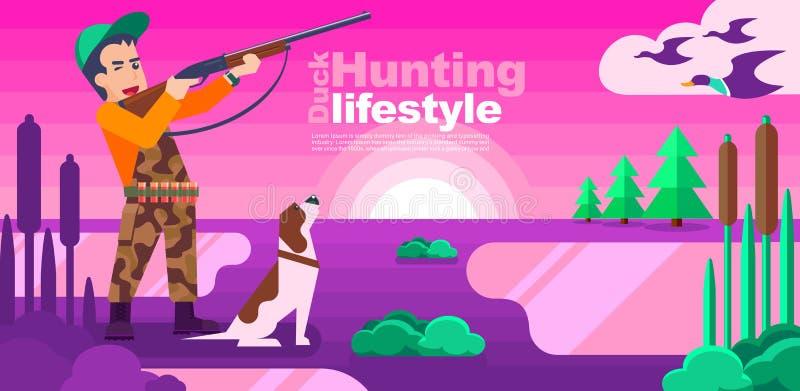 Jägareman med hunden som siktar eller jagar i en design för andjaktlägenhet stock illustrationer