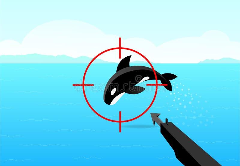 Jägaren siktade hans vapen på späckhuggaren, vektorkonst royaltyfri illustrationer