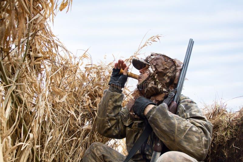 Jägaren sitter i skyddet och lockar änderna arkivfoton