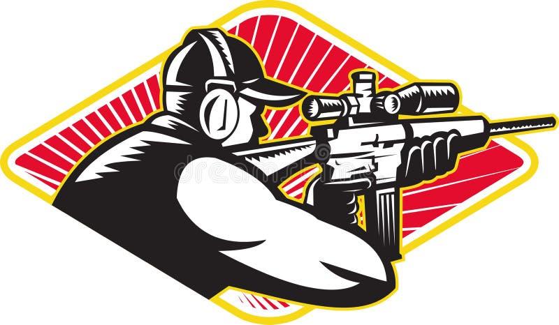 Jägareskytt som siktar det Retro geväret stock illustrationer