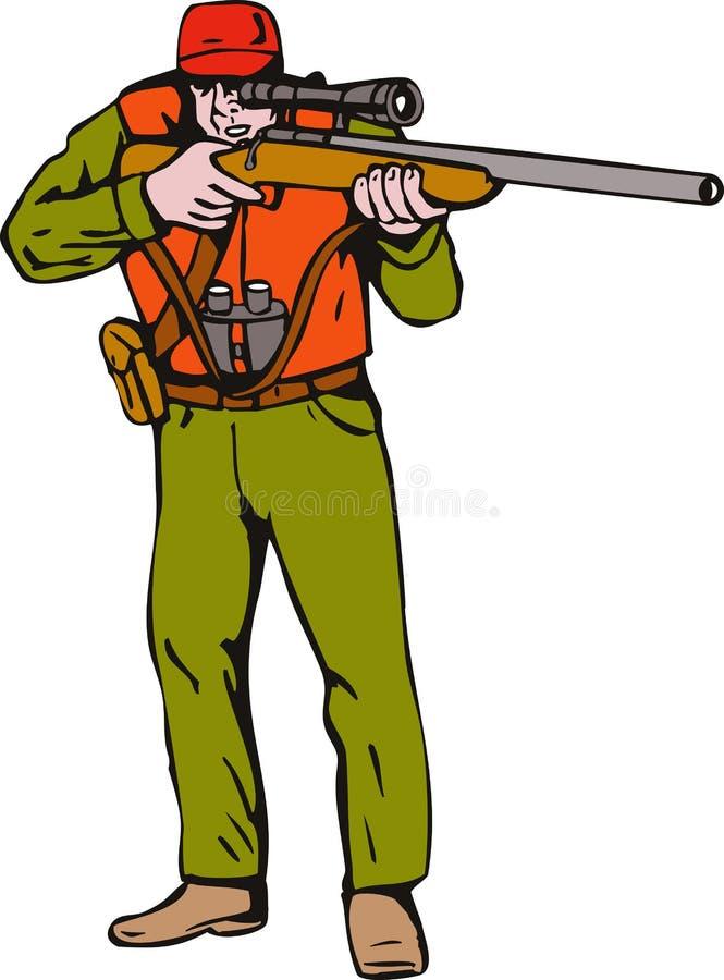 Jäger, der eine Gewehrgewehr zielt stock abbildung