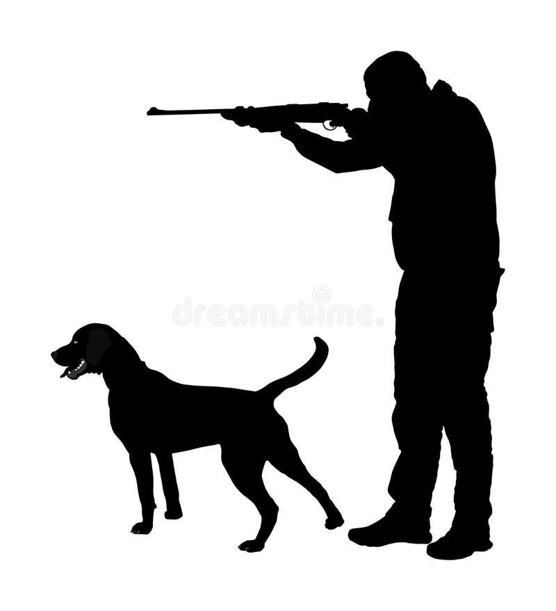J?ger mit dem Hund, der mit seinem Gewehrschattenbild zielt Jagdszene im Freien Zeiger, der auf Opfer schaut Mannjagd lizenzfreie abbildung