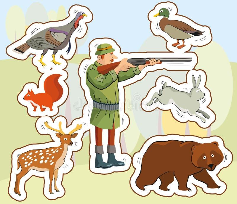 Jäger und wilde Tiere lizenzfreie abbildung