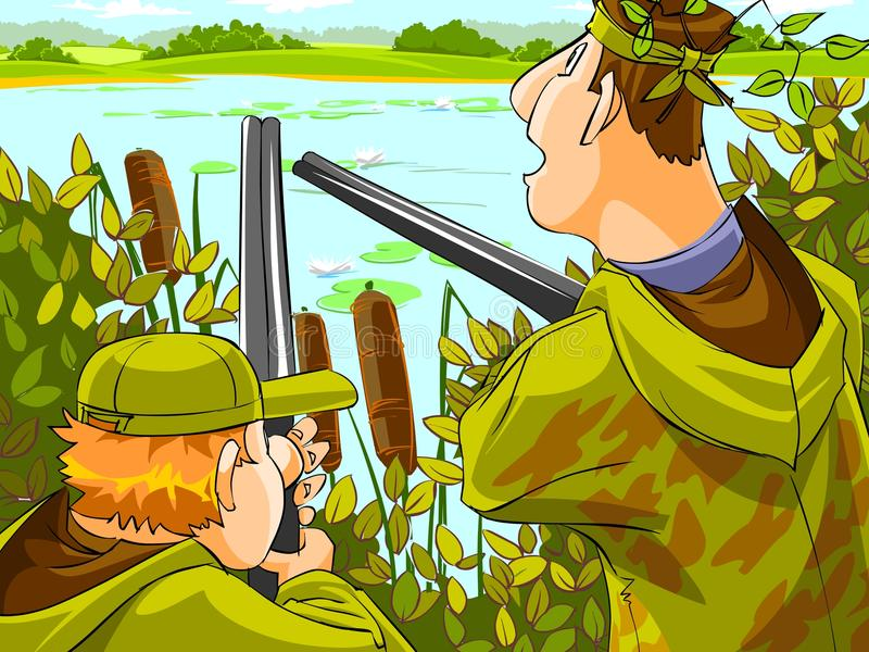 Jäger, welche die Jagd zielen vektor abbildung