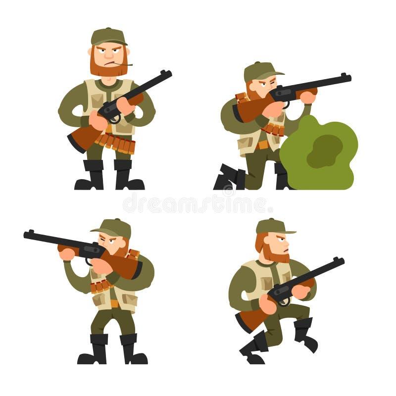 Jägerillustration auf Hintergrund stockfoto