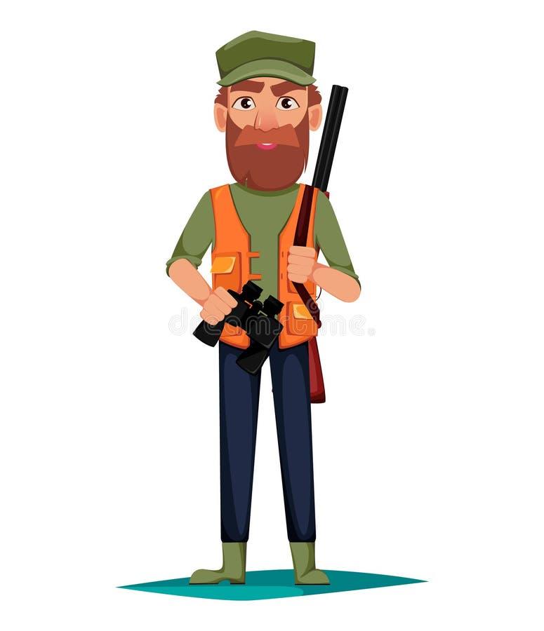 Jägermannkarikatur characterHunter Mannzeichentrickfilm-figur mit einer Schrotflinte und Ferngläsern stock abbildung