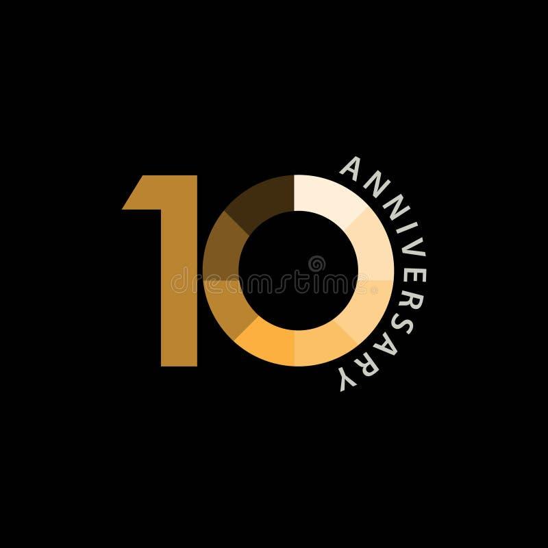 10-jährige Jahrestags-Vektor-Entwurfs-Illustration stock abbildung