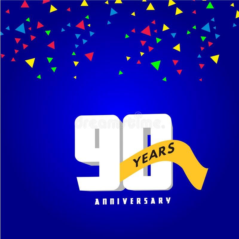 90-jährige Jahrestags-Vektor-Entwurfs-Illustration stock abbildung