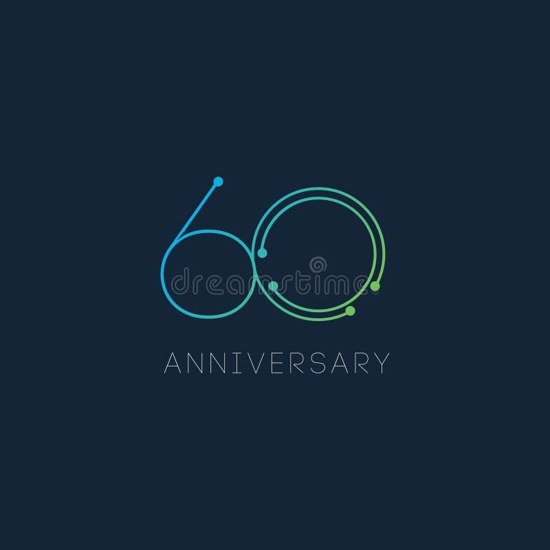 60-jährige Jahrestags-Vektor-Schablonen-Design-Illustration lizenzfreies stockbild