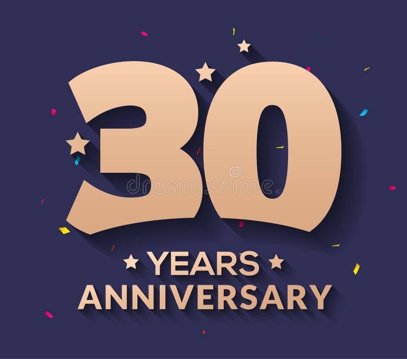 30-jährige Jahrestagslogozahl Goldvektor30. Unternehmensjahrestag stock abbildung