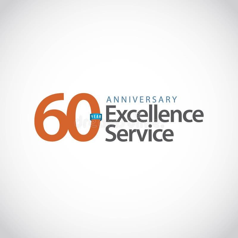 60-jährige Service-Vektor-Schablonen-Entwurfs-Illustration der Jahrestags-hervorragenden Leistung stock abbildung