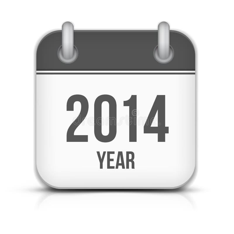 2014-jährige Vektor-Kalender-APP-Ikone mit Schatten lizenzfreie abbildung