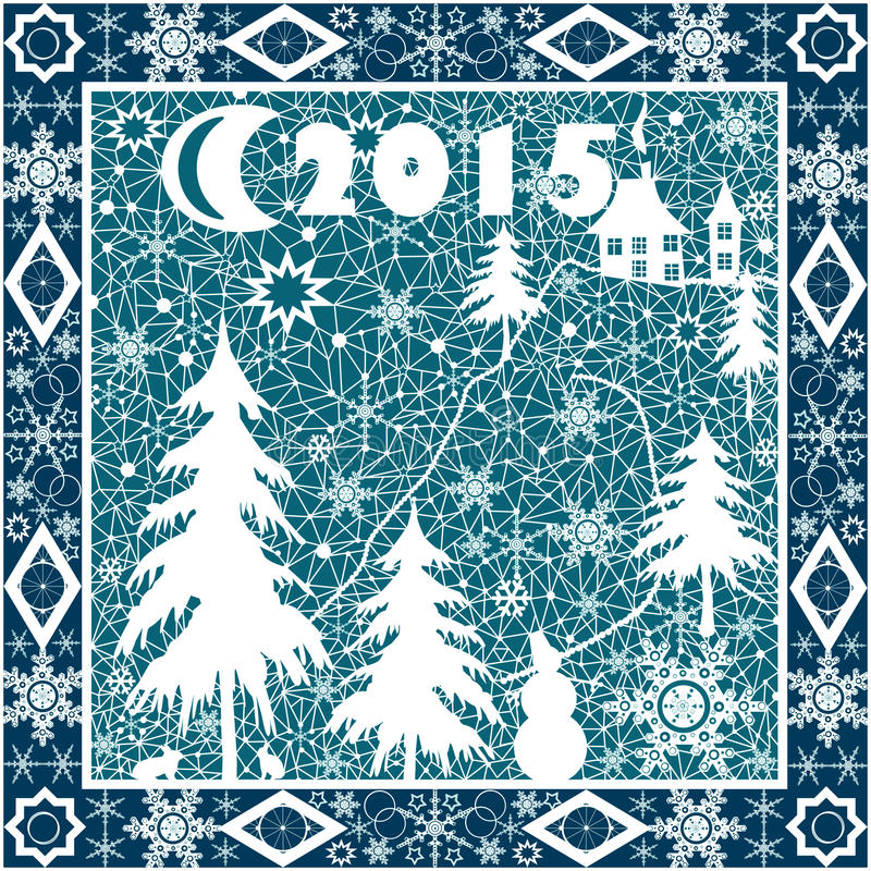 2015-jährige Verzierung der weißen Spitzes des Weihnachtskissens auf Blau vektor abbildung