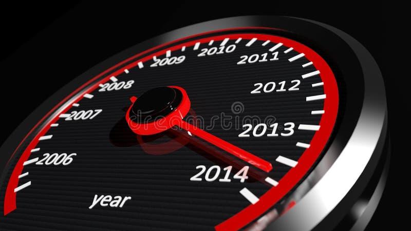 2014-jähriger Geschwindigkeitsmesser lizenzfreie abbildung