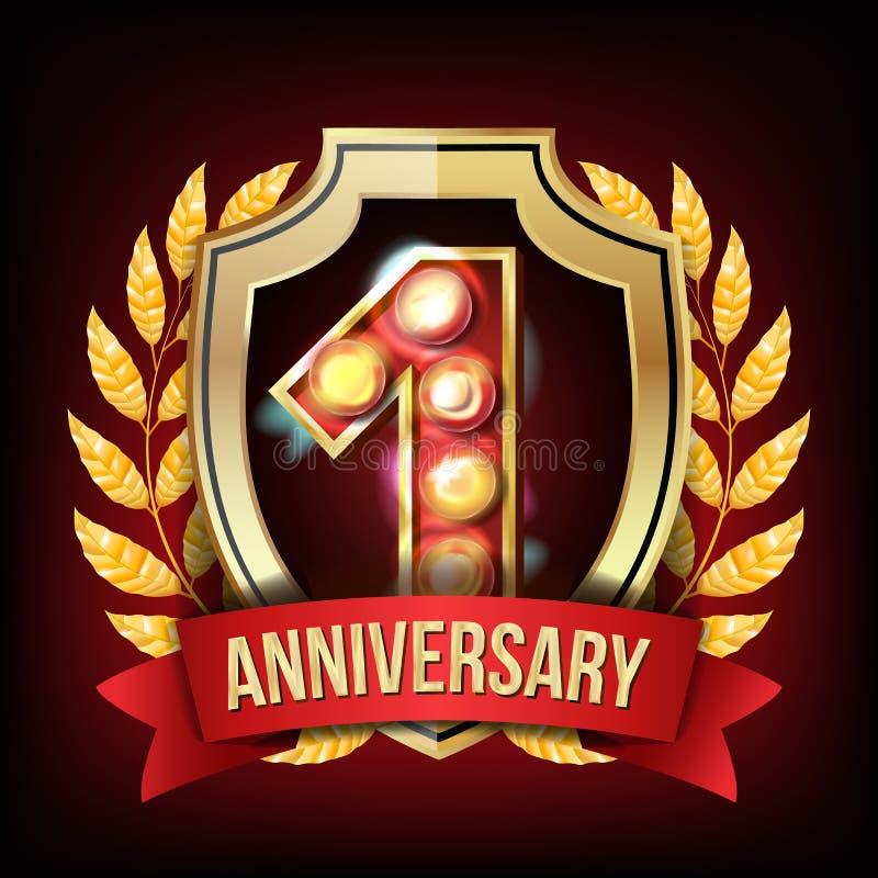 1-jähriger Jahrestags-Fahnen-Vektor Ein Alter, erste Feier Glänzendes Goldzeichen Nummer Eins… Lorbeer Wreath Für Geschäft stock abbildung