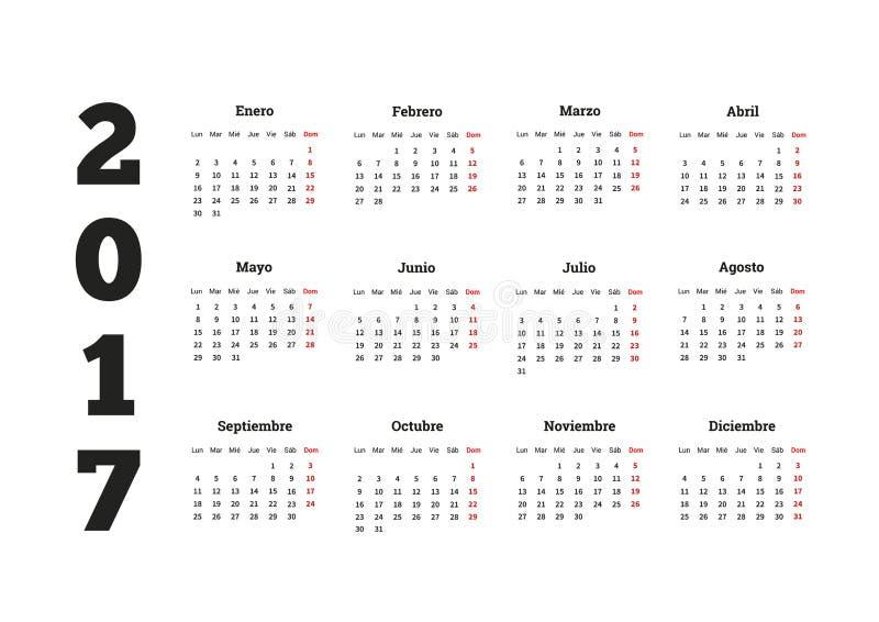 2017-jähriger Kalender auf spanisch, lokalisiert auf Weiß stock abbildung