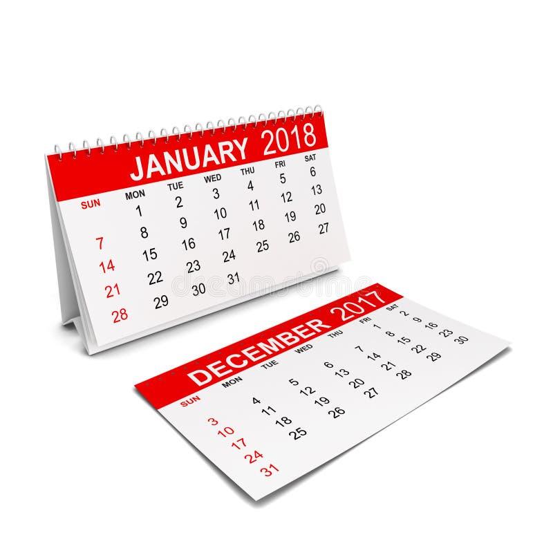 2018-jähriger Kalender Wochenanfänge mit Sonntag lizenzfreie abbildung