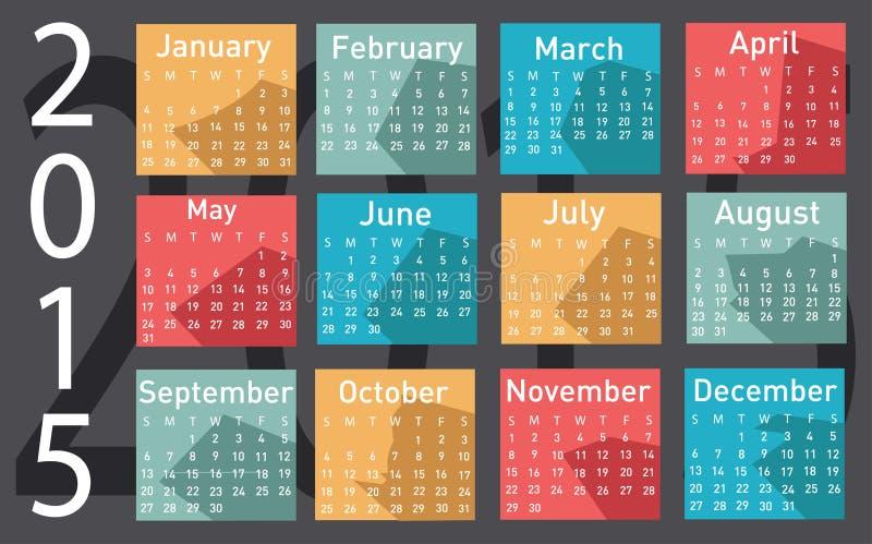 2015-jähriger Vektorkalender lizenzfreie abbildung
