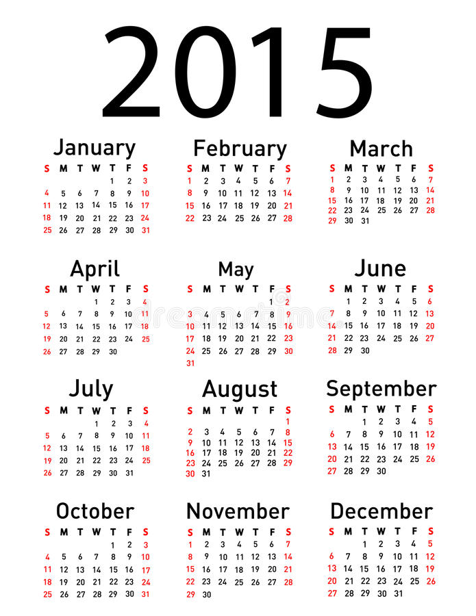 2015-jähriger Vektorkalender vektor abbildung