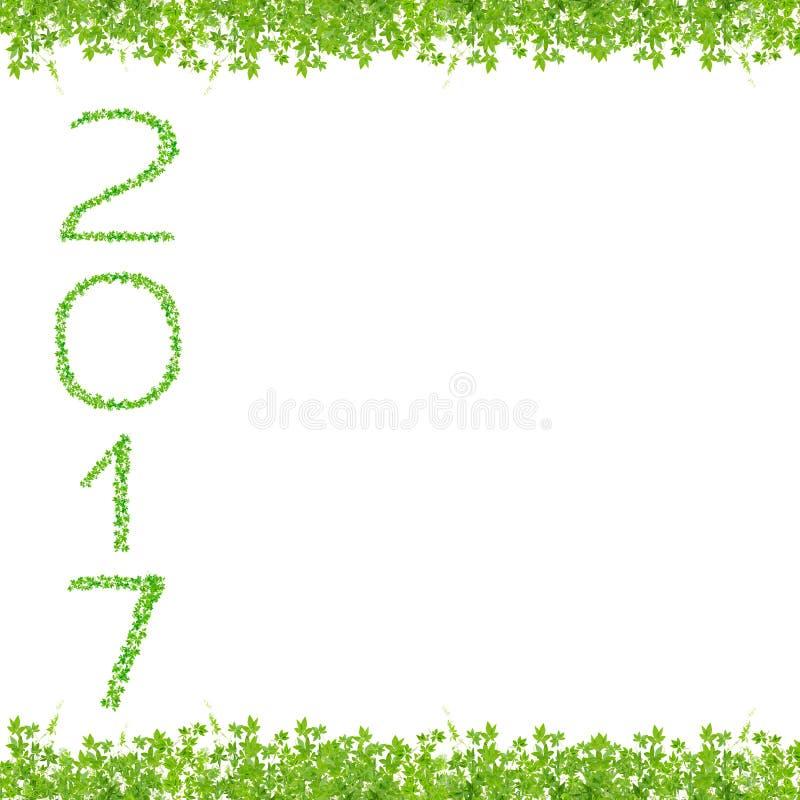 2017-jähriges gemacht vom schönen frischen Grünblattisolat auf Whit stock abbildung