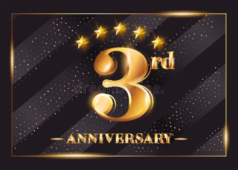 3-jähriges Jahrestags-Feier-Vektor-Logo 3. Jahrestag vektor abbildung