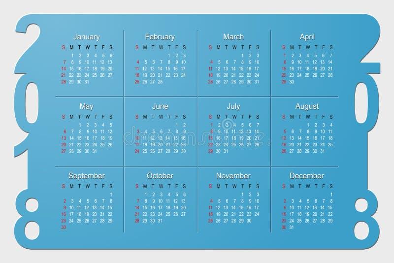 2018-jähriges Kalender-Vektor-Design stock abbildung