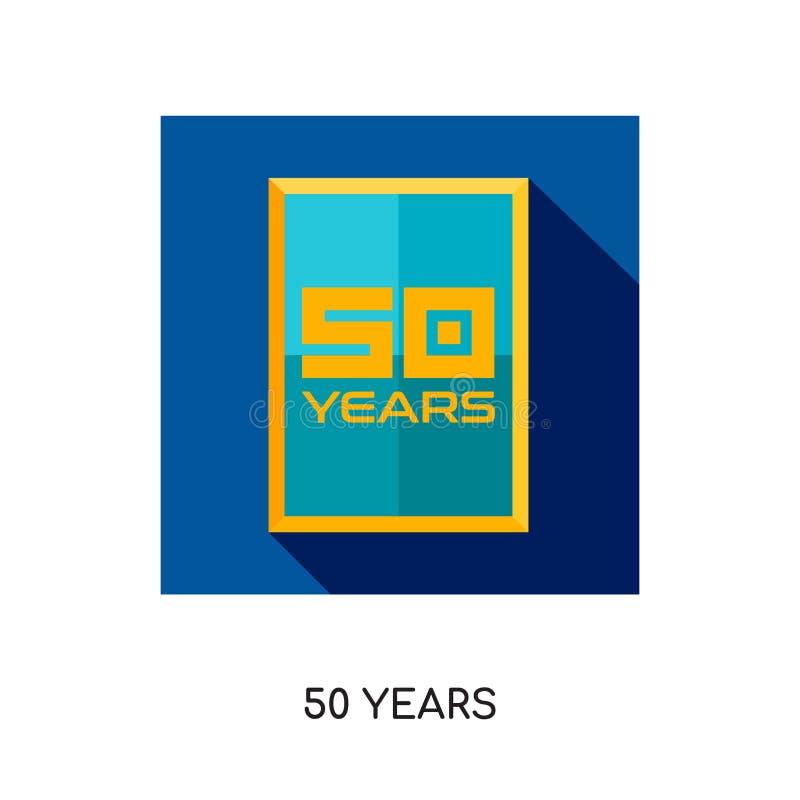 50-jähriges Logo lokalisiert auf weißem Hintergrund für Ihr Netz, bewegliches a stock abbildung