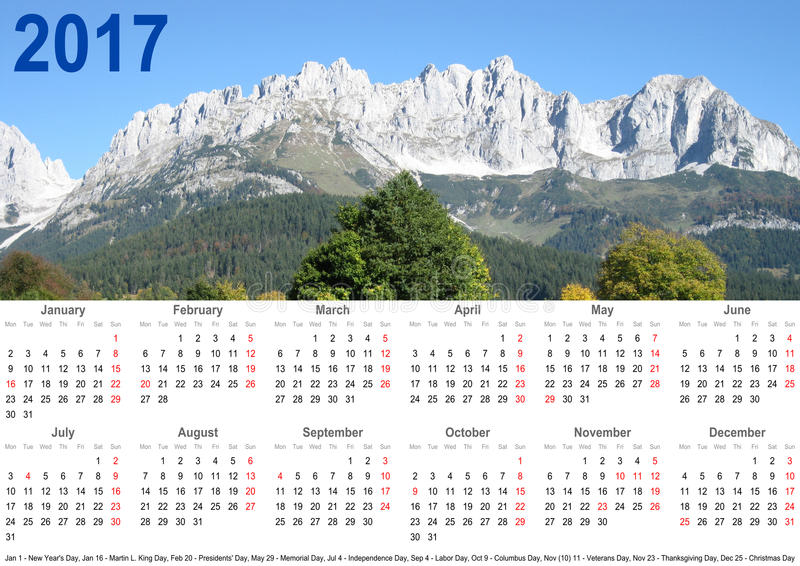 Jährliche Kalenderberglandschaft 2017 USA lizenzfreies stockbild