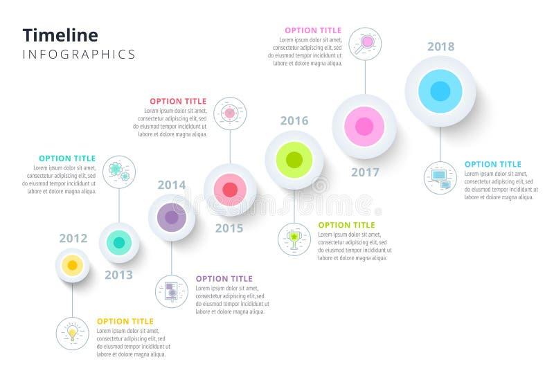 Jährliche Zeitachse des Geschäfts im Schritt kreist infographics ein korporativ lizenzfreie abbildung