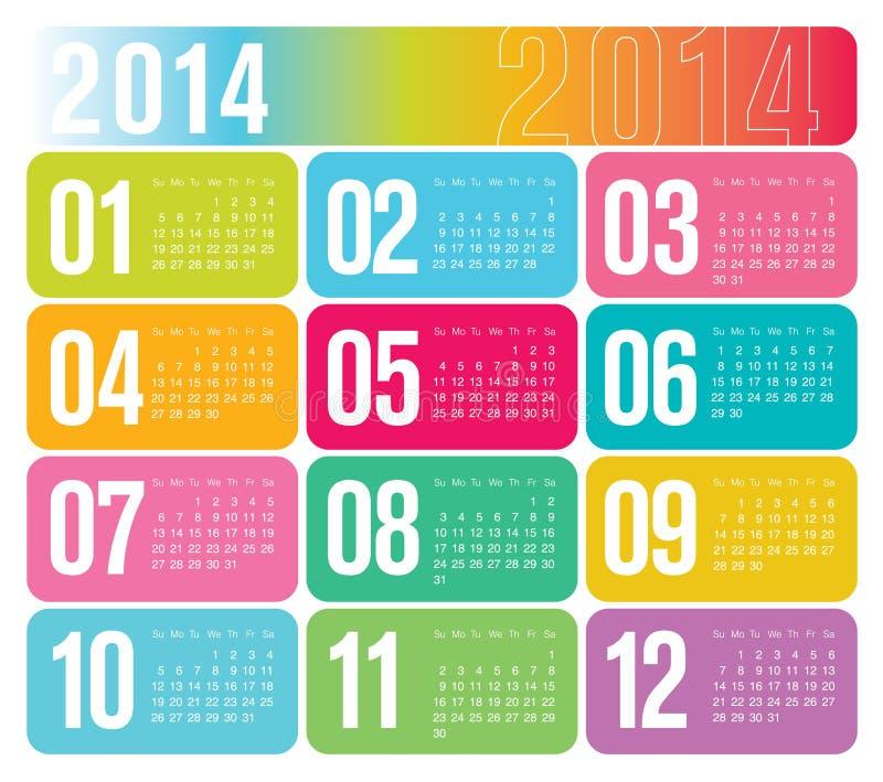 Jährlicher Kalender 2014 lizenzfreie abbildung