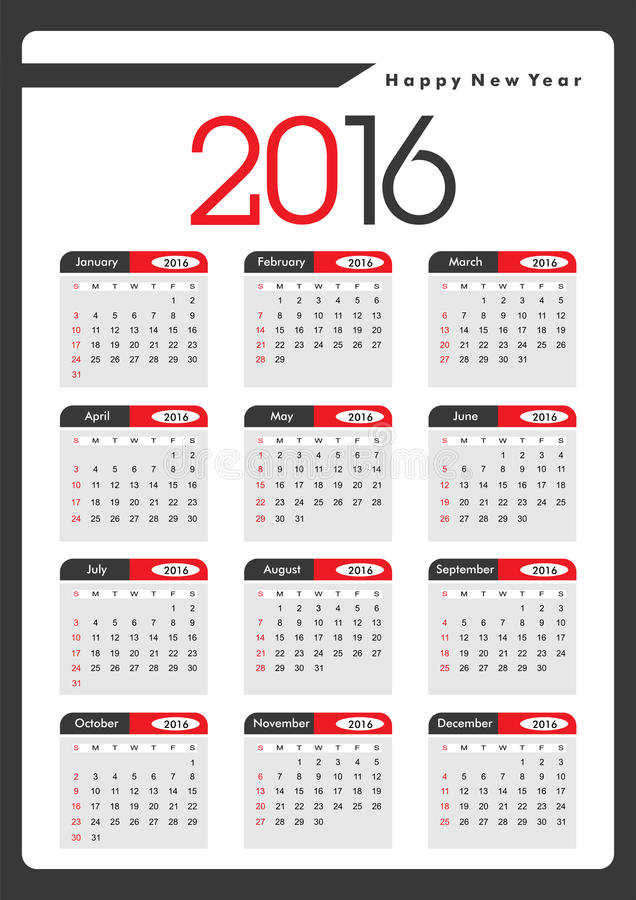 Jährlicher Kalender 2016 lizenzfreies stockfoto