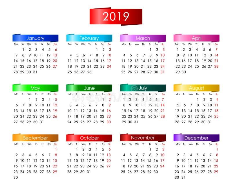 jährlicher Kalender für 2019 mit hellen bunten Informationsgraphiken stock abbildung