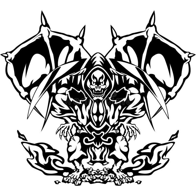 Jäkeln i en aggressiv slagställning Vektorillustration av en jäkel, demon, död med en skära som isoleras på vit bakgrund royaltyfri illustrationer