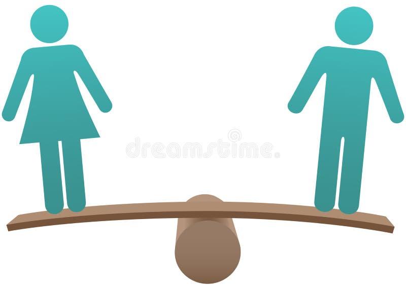 Jämbördigt male kvinnligt könsbestämmer jämställdhet balanserar stock illustrationer