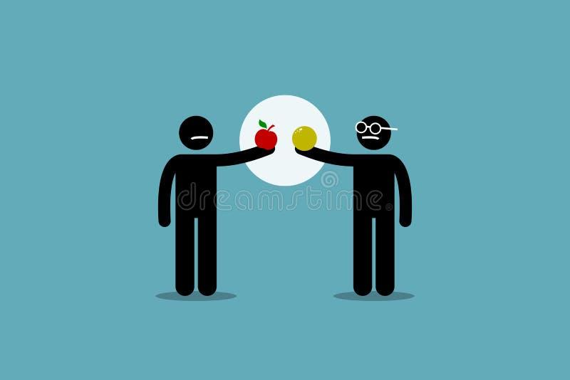Jämföra äpplet med apelsinen royaltyfri illustrationer