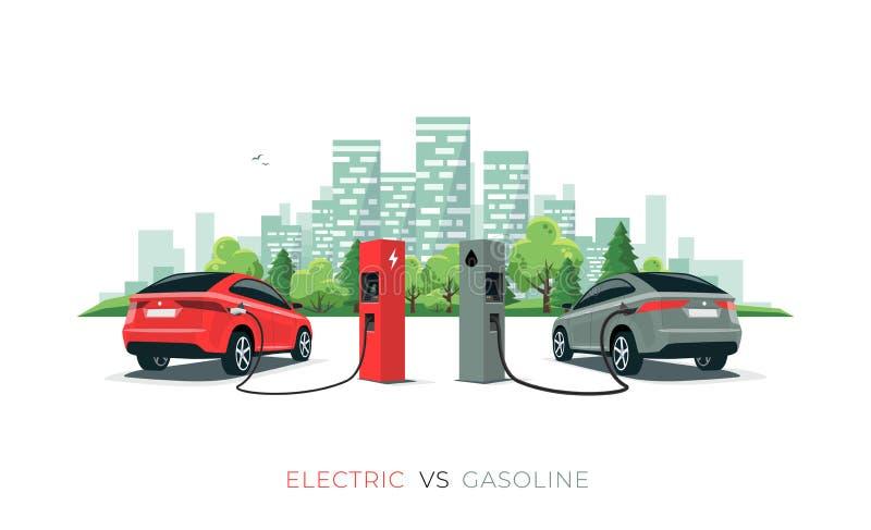 Jämföra bensinbilen för elbil kontra med stadshorisont som isoleras på vit bakgrund vektor illustrationer