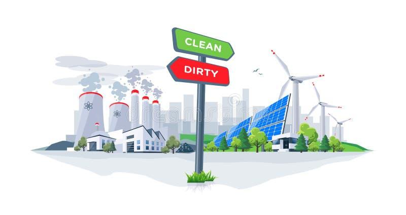 Jämföra rena förnybara och smutsiga förorena energiväxter med royaltyfri illustrationer