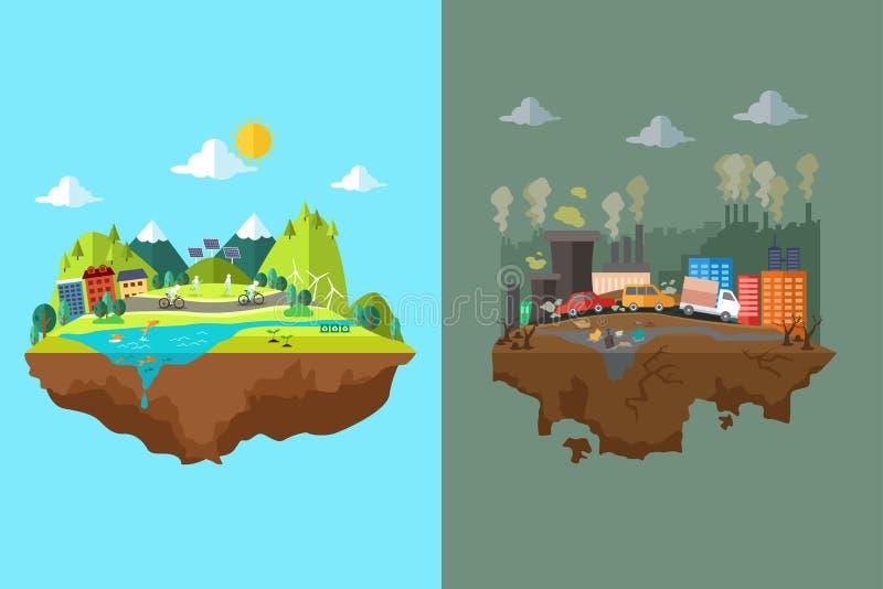 Jämförelse av den rena staden och den förorenade staden vektor illustrationer