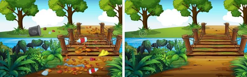 Jämförelse av den smutsiga och rena skogen stock illustrationer